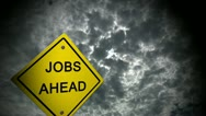 Jobs ahead road sign motivation economy work force cutaway transition Stock Footage