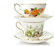 vintage coffee or tea cups - stock photo