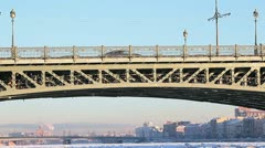 Troitsky bridge in winter season with people Stock Footage