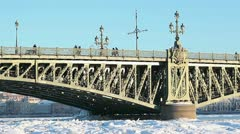 Troitsky bridge and Neva river in winter, St. Petersburg Stock Footage