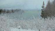 Winter season on lake shore Stock Footage