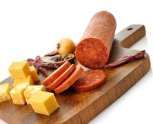 pepperoni salami and cheese - stock photo