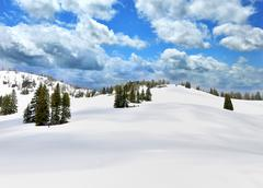 snow in a high mountains - stock photo