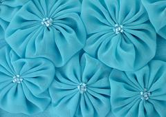 blue fabric flowers - stock photo