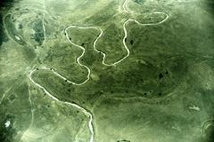 aerial view of landscape in south sudan - stock photo