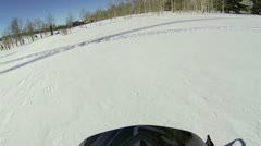 Snowmobile through Aspen tree forest HD 001 Stock Footage
