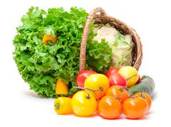 Mixed fresh vegetables in basket Stock Photos