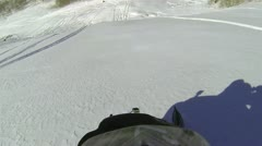 Snowmobile jump on mountain hill HD 1001 Stock Footage