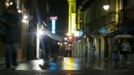 Stock Video Footage of 4K People walking at night