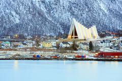 tromso cityscape arctic cathedral - stock photo