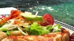 Seafood salad Stock Footage