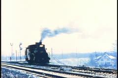 Archival footage of an early steam train in Canada Stock Footage