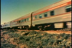 "Archival footage, color, 1950's, ""The Canadian,"" streamliner train passby Stock Footage"