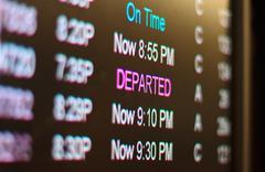 airport flight list - stock photo