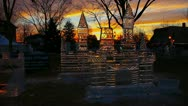 Stock Video Footage of Early morning sunrise castle ice sculpture