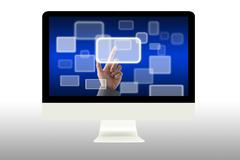 Touch virtual button on computer monitor Stock Illustration