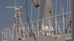 Ferry ships external instuments and radar turn Stock Footage