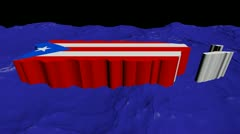 Puerto Rico map flag in abstract ocean animation Stock Footage