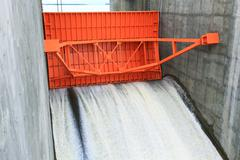 Stock Photo of red water gate