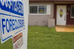 Foreclosure signage at home Stock Photos