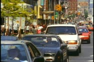 Toronto, 1990, traffic on Younge Street, crushed shot Stock Footage