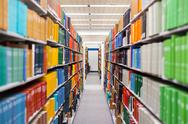 Stock Photo of college library with many books