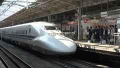 Bullet train Shinkansen transportation high speed fast station Japan - stock footage