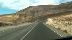 Camera car on the road - Fuerteventura Stock Footage