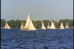 Toronto, 1990, sailboats on Lake Ontario in summer Stock Footage