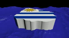 Uruguay map flag in abstract ocean animation Stock Footage
