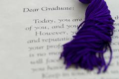 Graduation document and tassle Stock Photos