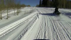 Snowmobile mountain trail cross country ski HD 2001 Stock Footage