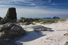 beach on lofoten islands - stock photo