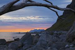 rocky beach on lofoten - stock photo