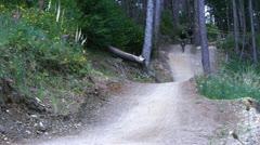 Downhill mountain biking Stock Footage