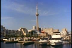 Toronto, Canada, establishing shot, marina and the CN Tower Stock Footage
