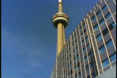 Toronto, The CN Tower, low shot up to top, Canada's tallest structure - stock footage