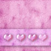 Four hearts pink background Stock Photos