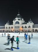 Ice skaters in City Park Ice Rink - stock photo
