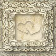 vintage lace card two hearts - stock illustration