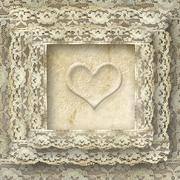 Stock Illustration of vintage lace card one heart
