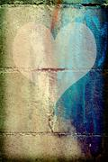 love heart on a concrete wall - stock illustration