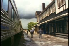 "Sioux Lookout station, Ontario, Canada, ""The Canadian""  train stopped Stock Footage"