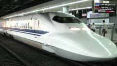 Shinkansen, bullet train, Tokyo station, platform, transportation - stock footage