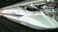 Stock Video Footage of Shinkansen, bullet train, Tokyo station, platform, transportation