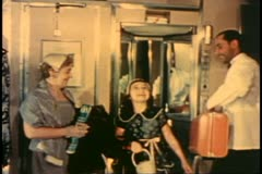 Archival footage, color, 1950's, railroad, black porter shows berth - stock footage