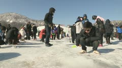 Icefishing festival Korea Stock Footage