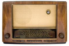 Vintage Tube Radio with Clipping Path Isolated on a White Background Stock Photos