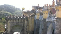 Pena Palace showing turrets and crenellations Stock Footage