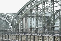 Metal truss bridge Stock Photos
